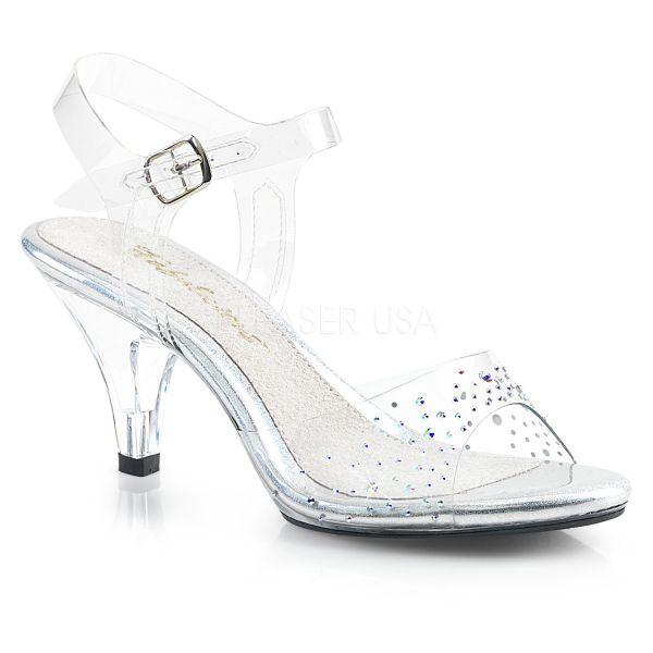 Durchsichtige klassische Riemchen Sandalette mit Strass BELLE-308SD